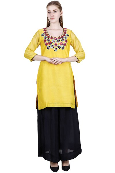 DS Yellow Embroidered Latest Style Kurta With Pant Set