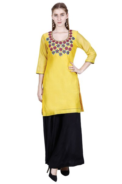 DS Yellow Embroidered Latest Style Kurta