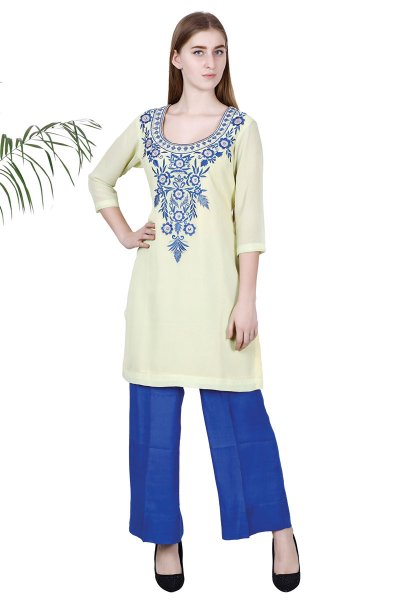 DS Yellow Georgette Latest Design Embroidered Kurti With Pant