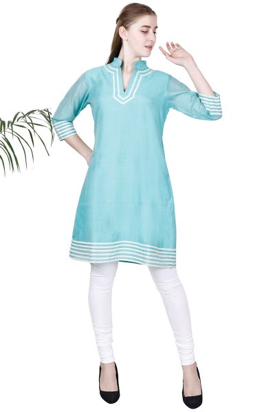 DS Sea Green Solid A-line Straight Latest Design Kurti