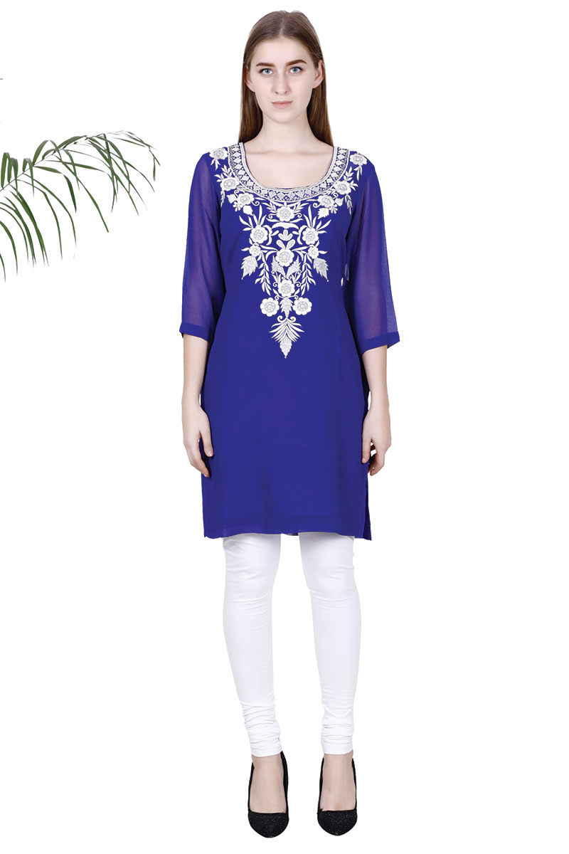 DS Royal Blue Georgette New Design Embroidered Kurti