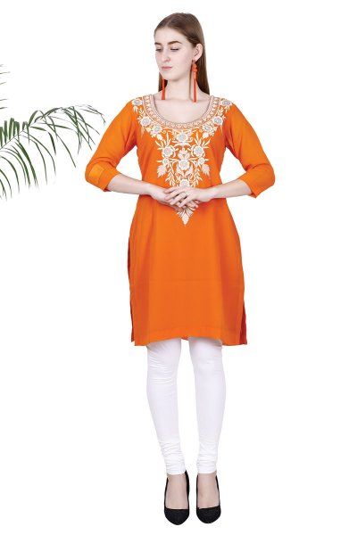 DS Orange Georgette Stylish Embroidered Straight Kurta