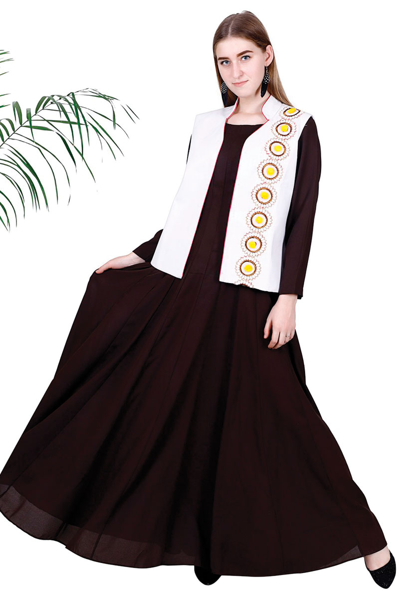 DS Brown Georgette Woven Design Flare Kurta With Jacket Set