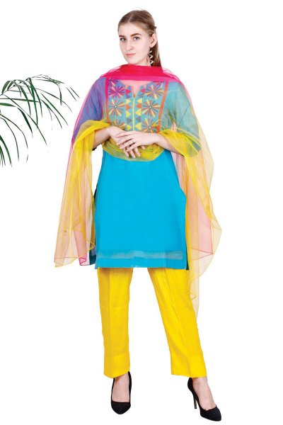 BT Blue Embroidered Stylish Kurta With Pajama & Dupatta Set