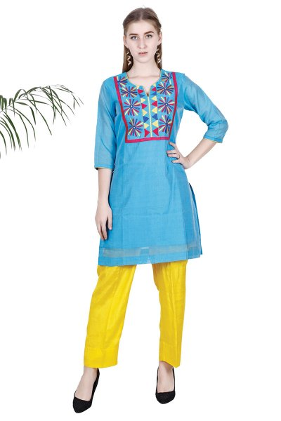 BT Blue Embroidered Stylish Kurta