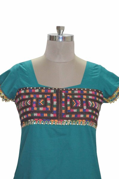 DS Turquoise Cotton Latest New Collection Kurti