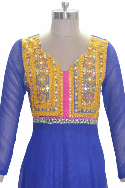 And You Blue Georgette Sweat Heart Neckline Attractive kurti