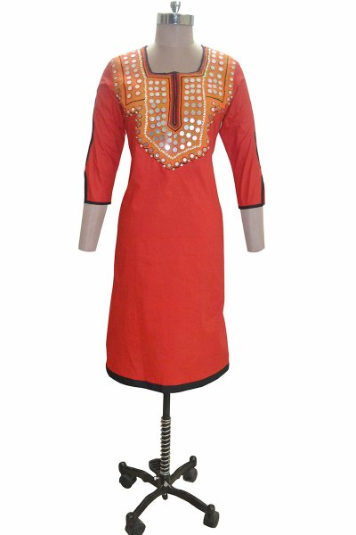 And You Red Cotton Square neckline Kurti