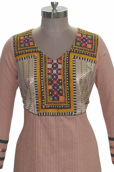 And You Peach Cotton Perfect Kurti