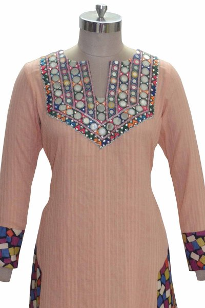 DS Peach Cotton Mirror Work Stylish Kurti