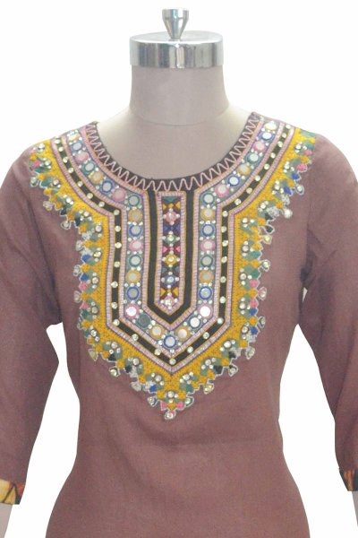 And You Brown Cotton Stylish kurti