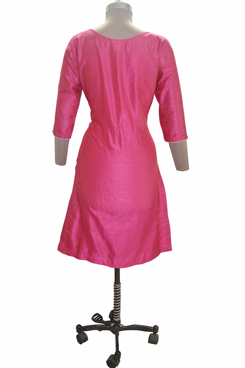 DS Pink Silk Stylish Stone Work Kurti