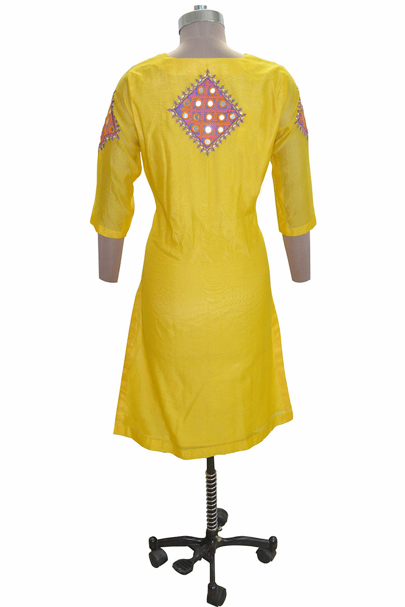 DS Yellow Cotton Stylish Straight Kurti