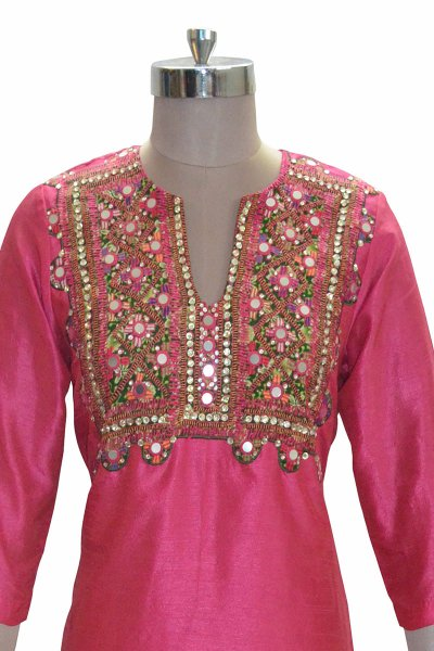 And You Pink Fashionable Straight Kurti