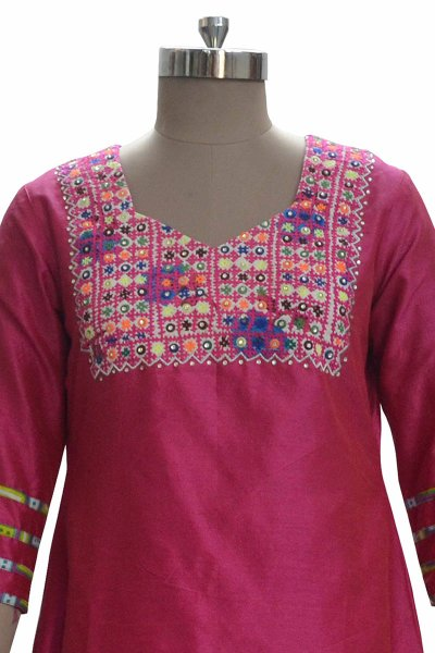 DS Red Silk Fabric Beautiful Kurti
