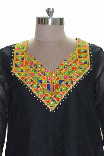DS Black Cotton Beautiful Stone Work Kurti