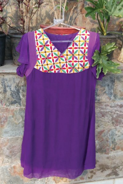 DS Purple Georgette Chikan Embroidery Kurti