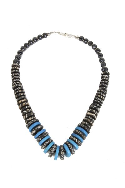 Stylish Blue & Black Stone Necklace