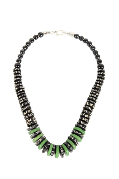 Stylish Black & Green Stone Necklace