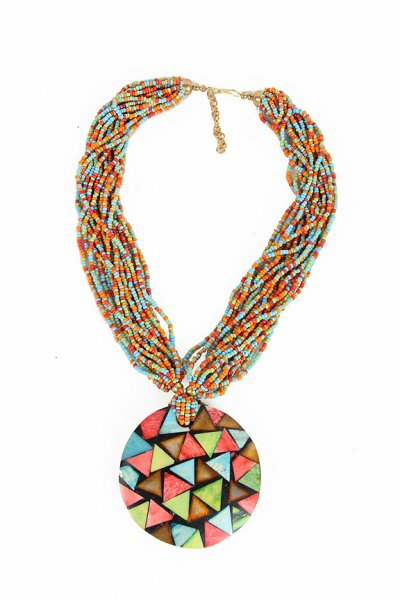Stylish Multi Color Moti Necklace