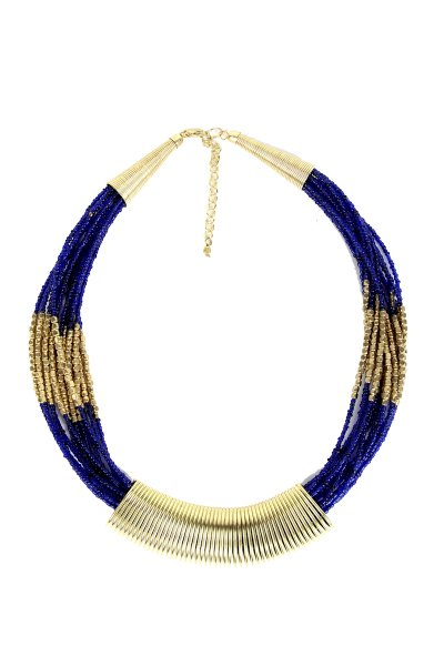 Attractive Blue Metal & Moti Necklace