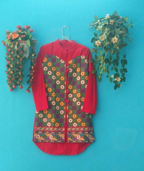 DS Red Multi Cotton Embroidery Fashionable Kurti