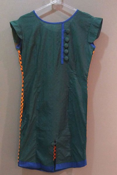 DS Green and Orange Cotton New Design Kurti