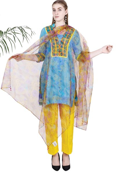 DS Blue Embroidered New Design Kurta With Pajama & Dupatta Set