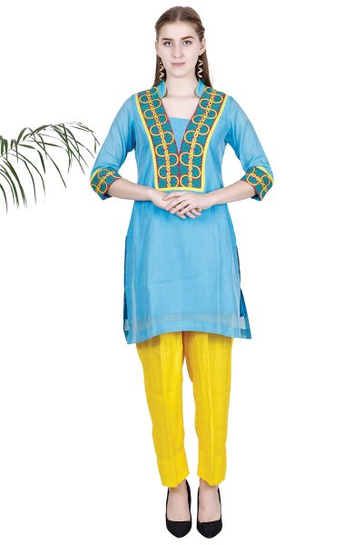 DS Blue Embroidered New Design Kurta