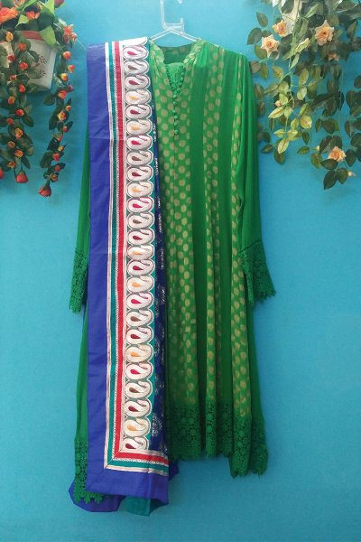 DS Blue & Green Cotton Latest Design Kurti
