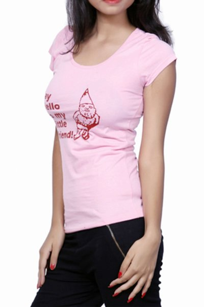DS Pink Cotton Stylish Printed Round-Neck T-shirt