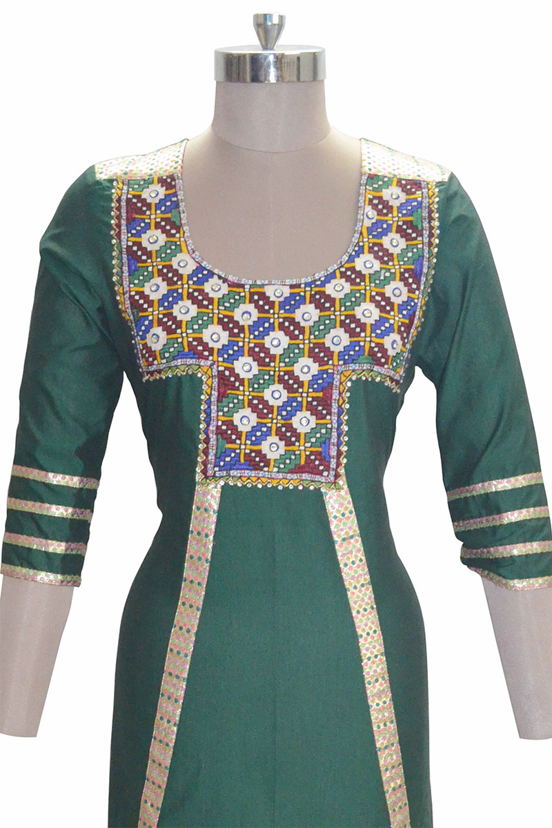 And You Green Cotton Attractive A-line Kurti