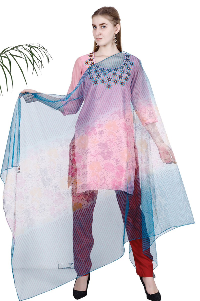 DS Pink Stylish Embroidery kurta With Pajama & Dupatta Set