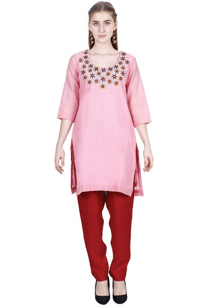 DS Pink Stylish Embroidery kurta