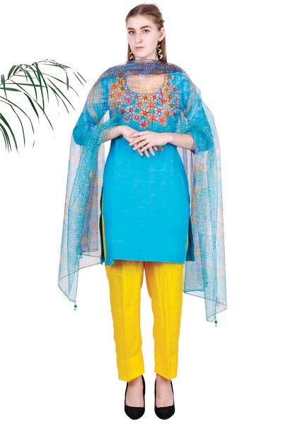 DS Blue Embroidered Trendy Style Kurta Pajama & Dupatta Set