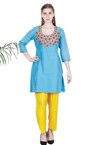 DS Blue Embroidered Trendy Style Kurta