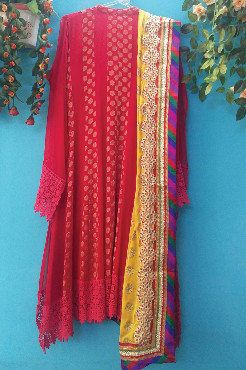 DS Red & Yellow Cotton New Design Kurti