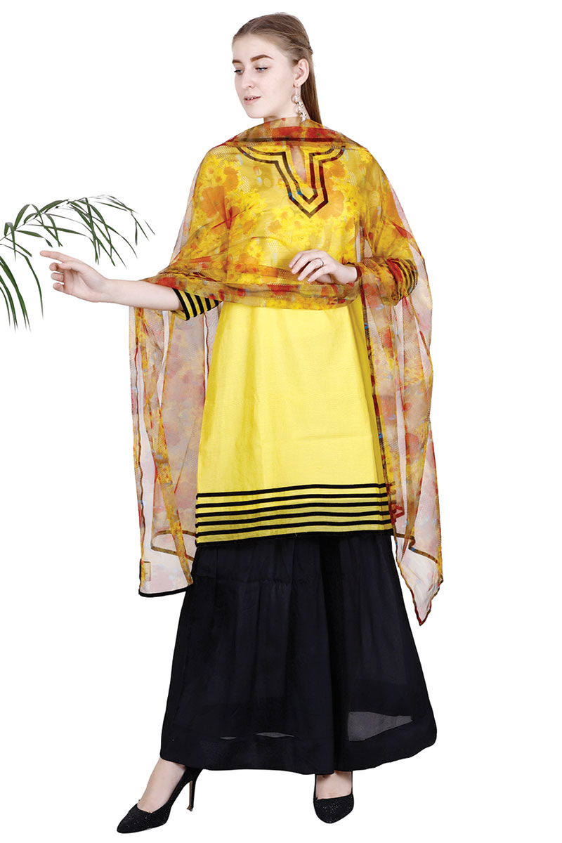 DS Yellow Solid A-line Straight Latest Design Kurti With Pant & Dupatta Set