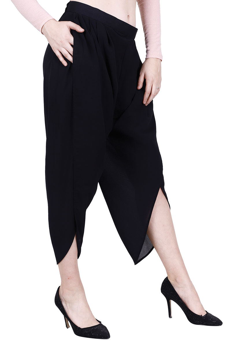 DS Black Georgette Solid Dhoti Pants