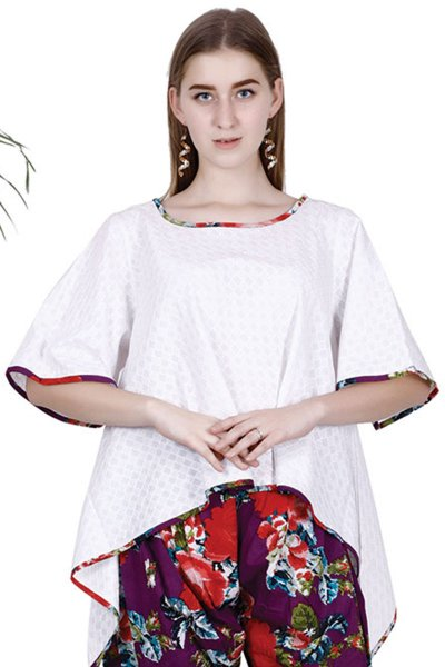 DS White Solid Cotton Stylish Kaftan Top