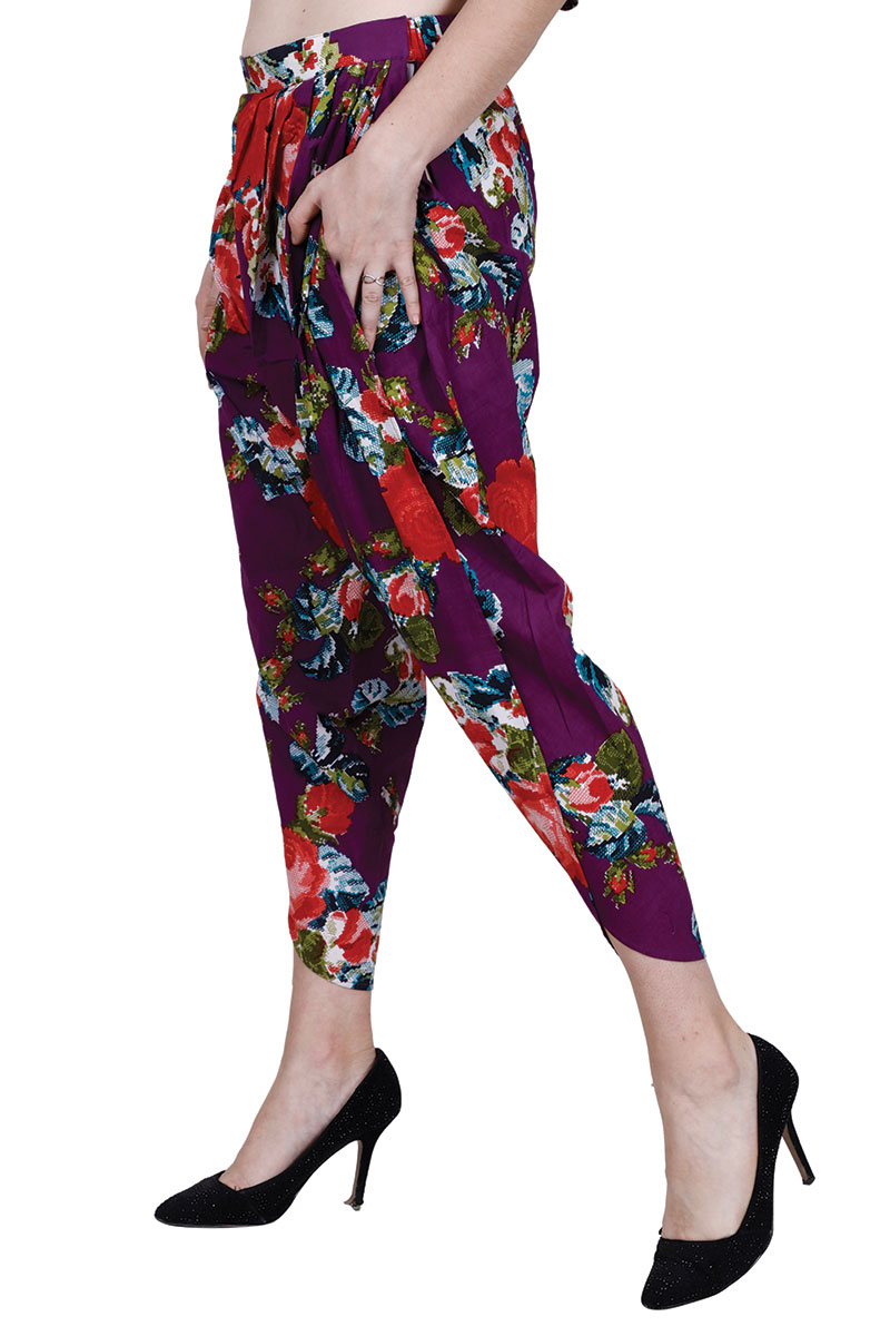DS Purple & White Printed Stylish Dhoti Pants