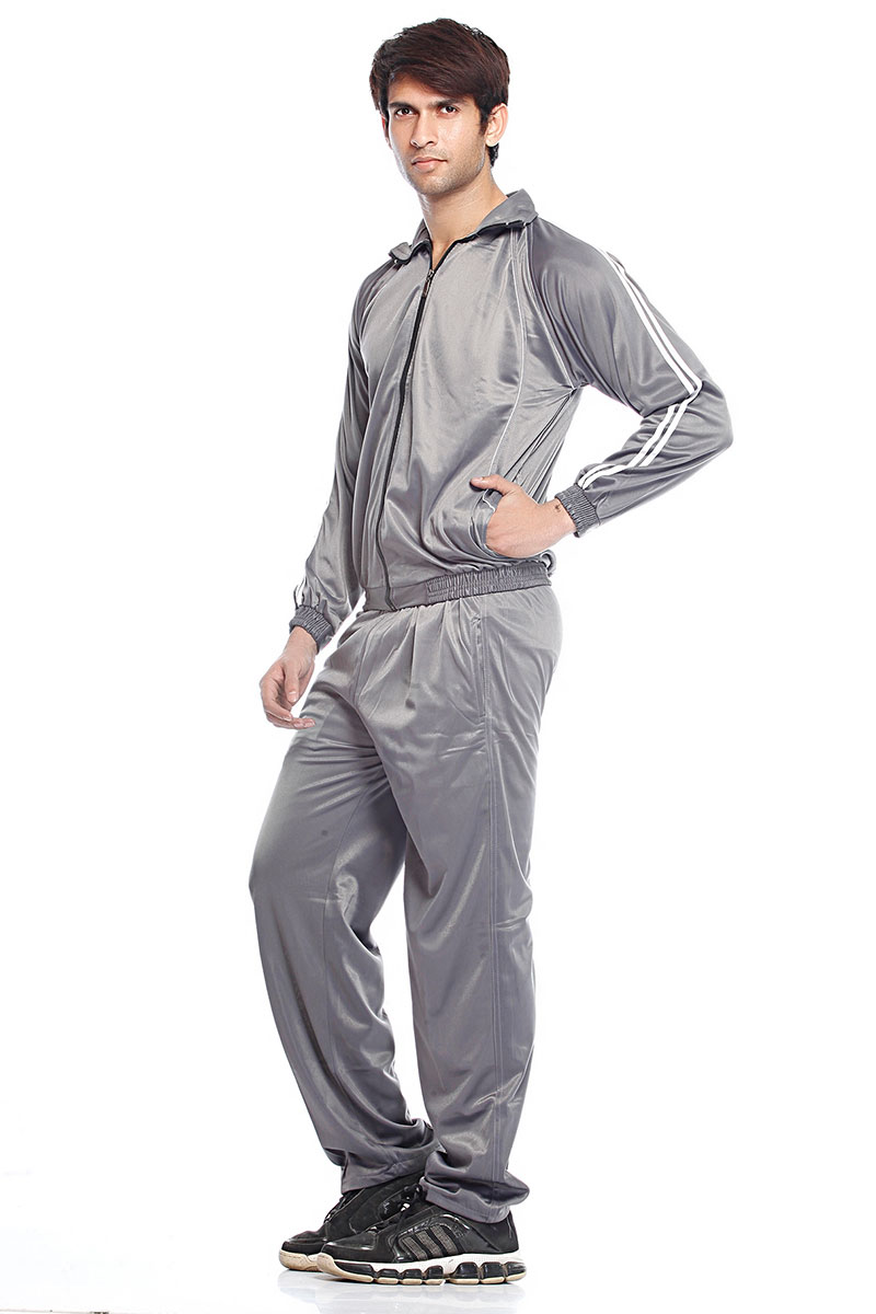 DS Solid Grey Polyester Lycra Men's Tracksuit