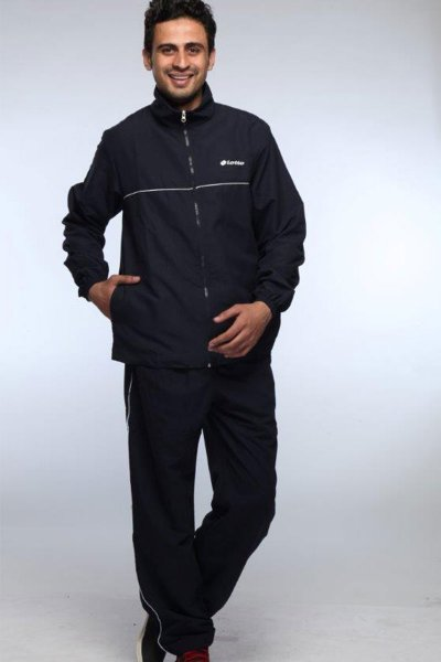 DS Solid Navy Blue Feather Lycra Men's Tracksuit