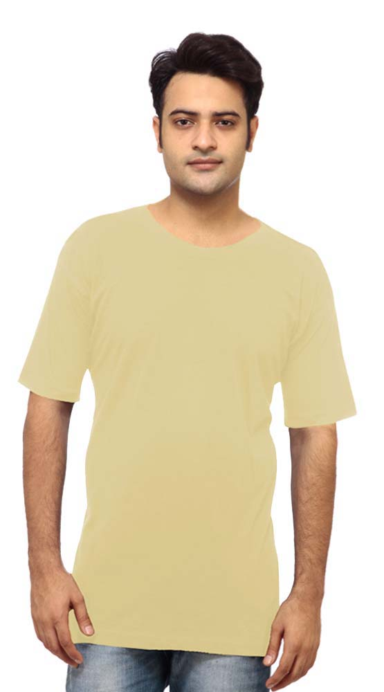 Beige Cotton Trendy Plain t-shirt for Men