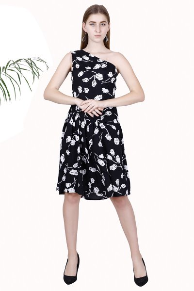 DS Black Printed New Design One Shoulder Short Dress