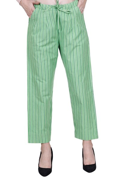 DS Green Cotton Stripe Straight  Stylish Pants