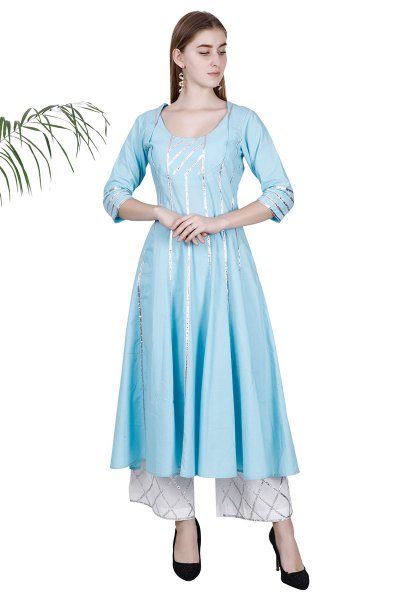 DS Sky Blue Flare New Collection Kurti