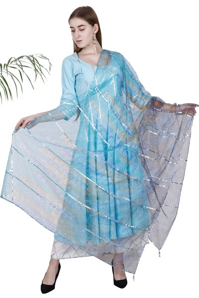 DS Sky Blue Straight New Collection Kurti Pajama & Dupatta Set