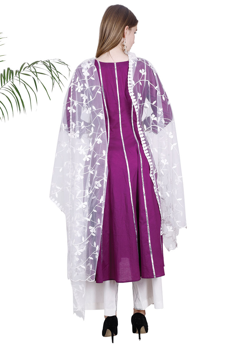 DS Purple Flare New Collection Kurti, Pajama , & Dupatta Set