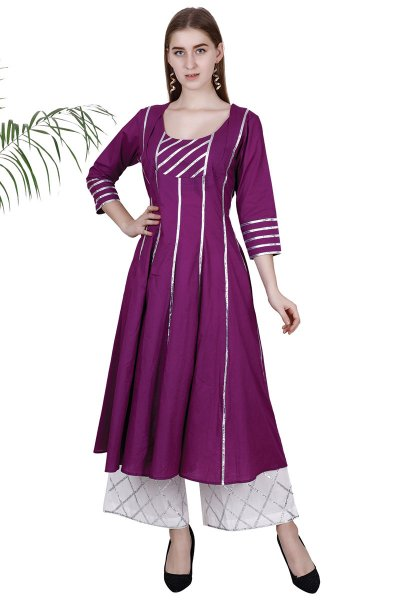 DS Attractive Purple Flare New Collection Kurti